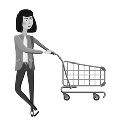 Woman with empty shopping cart icon vector