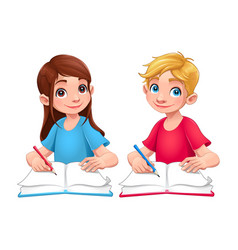 young students boy and girl with books and pencils vector image