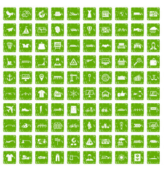 100 logistic and delivery icons set grunge green vector image