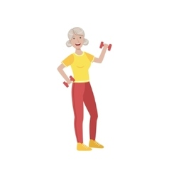 Old woman doing exercises in gym vector