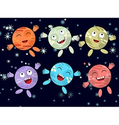 Set of funny cartoon planet on a dark background vector