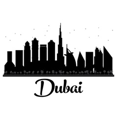 Dubai city skyline black and white silhouette vector