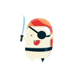 Pirate funny maki sushi character vector