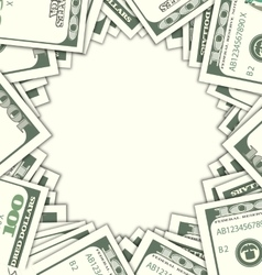 Round Frame with Dollars on White Background vector image