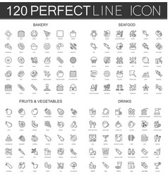 120 modern thin line icons set of bakery seafood vector