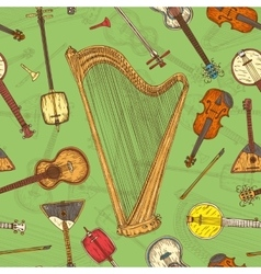 Seamless pattern string musical instruments vector