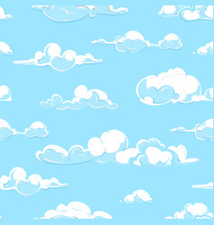 Cartoon clouds weather seamless pattern in vector