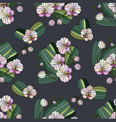 seamless pattern with orchids vector image