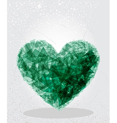 Green heart geometric shape vector image