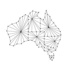 Australia map of polygonal mosaic lines rays vector