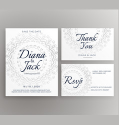 Stylish mandala wedding decoration card suite vector