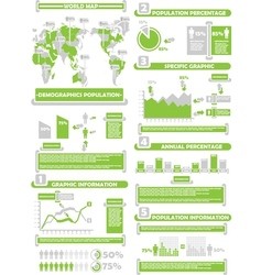Infographic demograp world percentage green vector