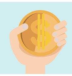 hand with dollar money flat design vector image