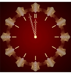Abstract new year golden clock on dark red vector