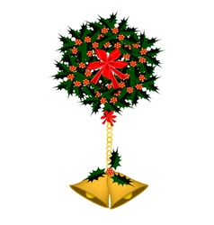 Golden bell and christmas holly with a bow vector