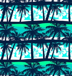 Tropical frangipani with palms seamless pattern vector image