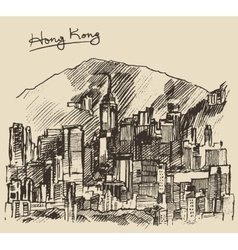 Hong Kong big city architecture hand drawn sketch vector image