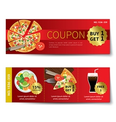 Set of food coupon discount template design vector