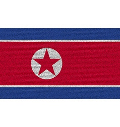 Flags korea north on denim texture vector