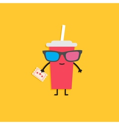 Soda glass characters in 3d glasses holding ticket vector