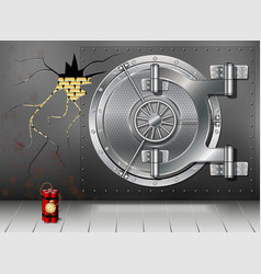 A huge metal round safe door reliable saving of vector