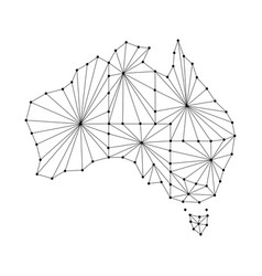 Australia map of polygonal mosaic lines rays vector