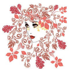 Autumn Girl with Floral11 vector image vector image