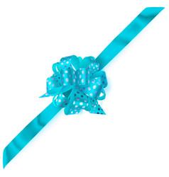 Big corner bow made of ribbon in polka dots vector
