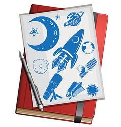 Book and science symbols vector
