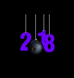 Bowling ball and 2018 hanging on strings vector