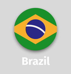 brazil flag round icon with shadow vector image vector image