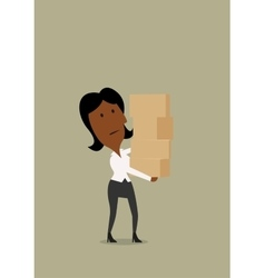 Businesswoman carrying a stack of boxes vector