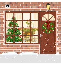 Christmas decorated door house entrance with vector