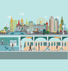 cityscape with subway train station platform vector image