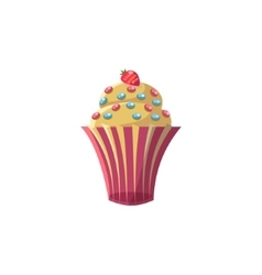 Cute cupcake with strawberry vector