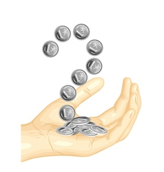 euro coins in the hand vector image vector image