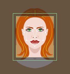 Facial recognition system with a face of woman vector