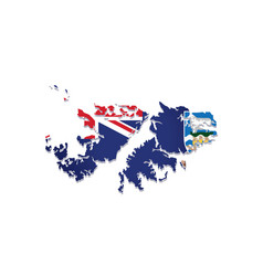 Falkland islands flag amp map vector