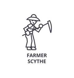 Farmer with scythe line icon outline sign linear vector
