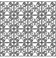 filigree linear black and white pattern vector image vector image