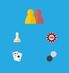 Flat icon games set of pawn poker chequer and vector