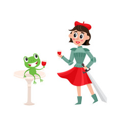 Flat joan of arc costume girl frog wine vector
