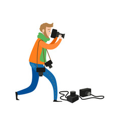 flat man with photo cameras vector image vector image