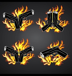 Glock pistol weapon fire flames background vector