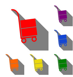 Hand truck sign set of red orange yellow green vector