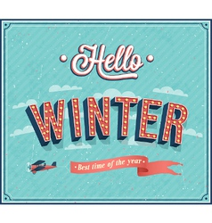 Hello winter typographic design vector image vector image