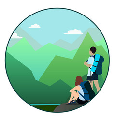 Man and woman walking on a mountain trail and vector