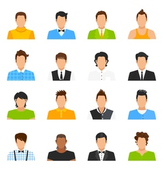 Man Avatar Icons Set vector image vector image