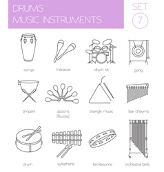 Musical instruments graphic template drums vector