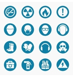 Occupational health icons and safety signs vector image